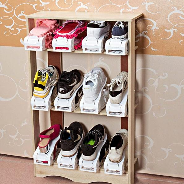 sneaker storage Lovely White Plastic Adjustable Shoe Slots Organizer Shoe Space Saver Rack